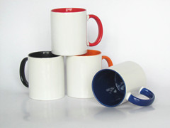 11oz sublimation mug with interior color and color handle